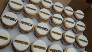 Vanilla Corporate Branded Logo Cupcakes
